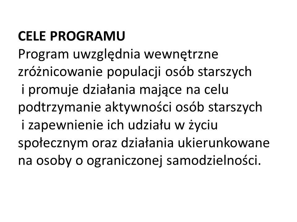 CELE PROGRAMU Program uwzględnia wewnętrzne zróżnicowanie populacji osób starszych i promuje działania mające na celu podtrzymanie aktywności osób sta