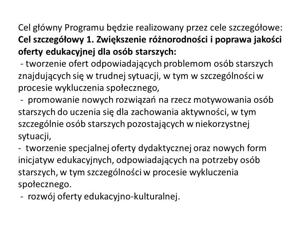 Cel główny Programu będzie realizowany przez cele szczegółowe: Cel szczegółowy 1. Zwiększenie różnorodności i poprawa jakości oferty edukacyjnej dla o