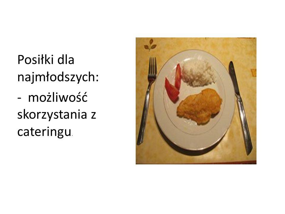 Posiłki dla najmłodszych: - możliwość skorzystania z cateringu.