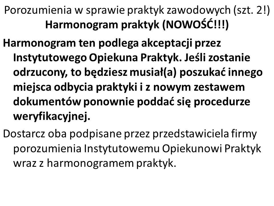 Porozumienia w sprawie praktyk zawodowych (szt. 2!) Harmonogram praktyk (NOWOŚĆ!!!) Harmonogram ten podlega akceptacji przez Instytutowego Opiekuna Pr