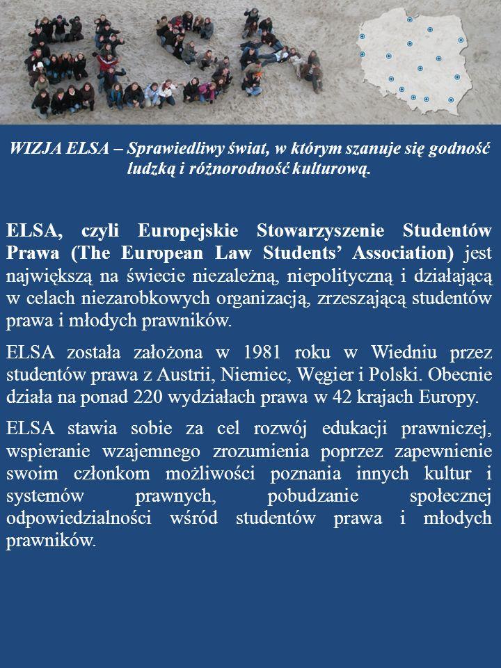 WIZJA ELSA – Sprawiedliwy świat, w którym szanuje się godność ludzką i różnorodność kulturową. ELSA, czyli Europejskie Stowarzyszenie Studentów Prawa