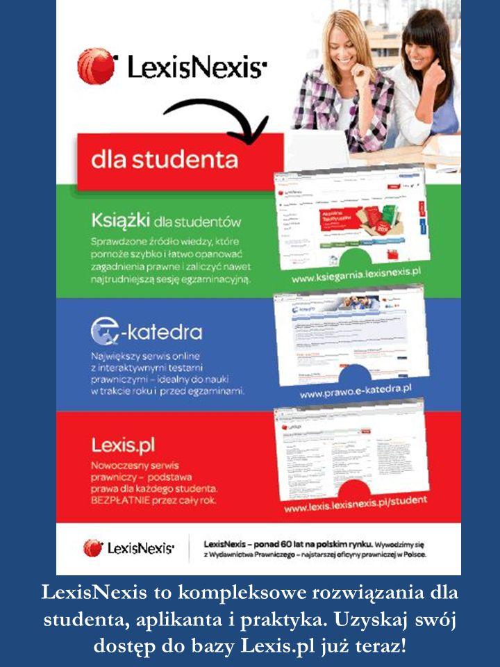 LexisNexis to kompleksowe rozwiązania dla studenta, aplikanta i praktyka. Uzyskaj swój dostęp do bazy Lexis.pl już teraz!