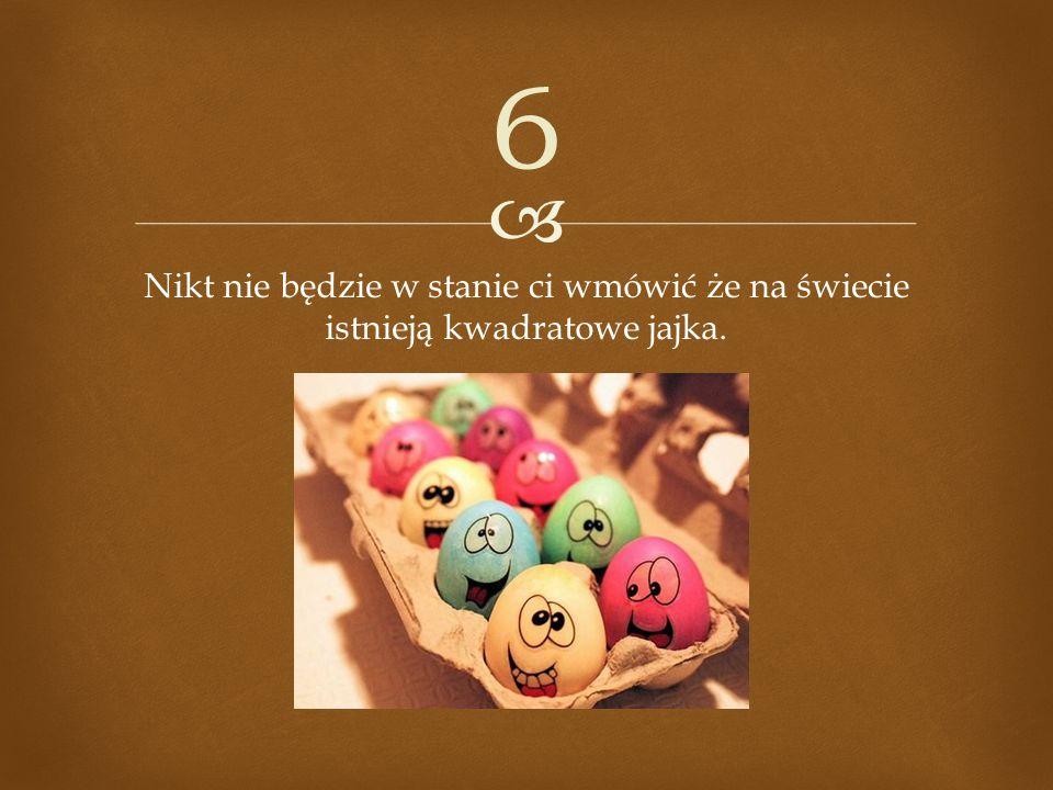 Nikt nie będzie w stanie ci wmówić że na świecie istnieją kwadratowe jajka. 6