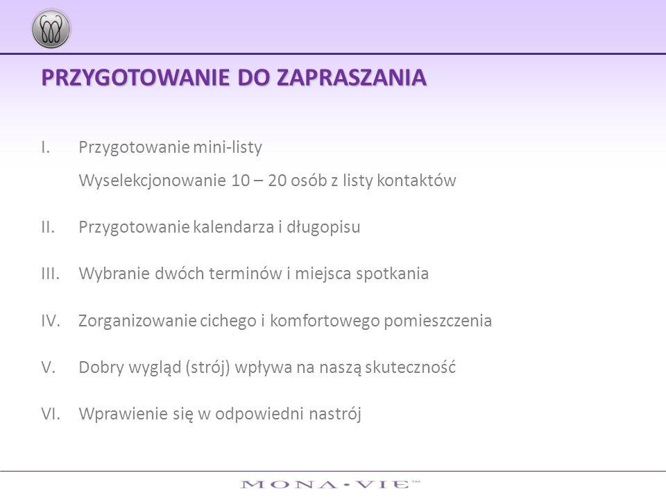 PRZYGOTOWANIE DO ZAPRASZANIA I.Przygotowanie mini-listy Wyselekcjonowanie 10 – 20 osób z listy kontaktów II.Przygotowanie kalendarza i długopisu III.W