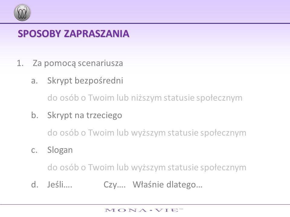 SPOSOBY ZAPRASZANIA 2.Video kwalifikacyjne a.Płyta DVD b.Strona www 3.Zaproszenie na produkt poprzez filmy np.