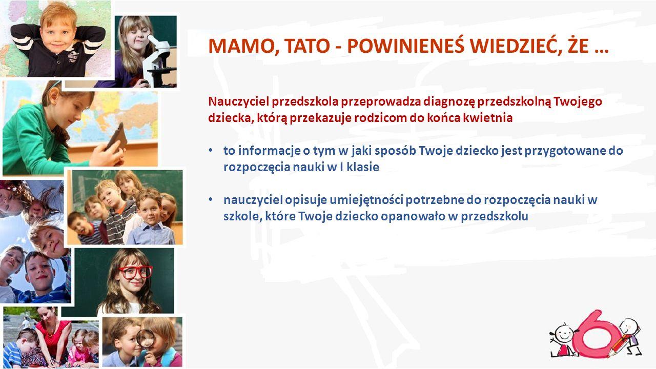 MAMO, TATO - POWINIENEŚ WIEDZIEĆ, ŻE … Nauczyciel przedszkola przeprowadza diagnozę przedszkolną Twojego dziecka, którą przekazuje rodzicom do końca k