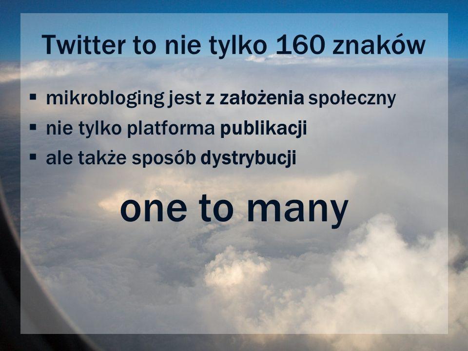 Twitter to nie tylko 160 znaków mikrobloging jest z założenia społeczny nie tylko platforma publikacji ale także sposób dystrybucji one to many
