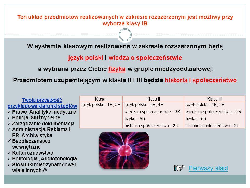Ten układ przedmiotów realizowanych w zakresie rozszerzonym jest możliwy przy wyborze klasy IB W systemie klasowym realizowane w zakresie rozszerzonym będą język polski i wiedza o społeczeństwie a wybrana przez Ciebie fizyka w grupie międzyoddziałowej.