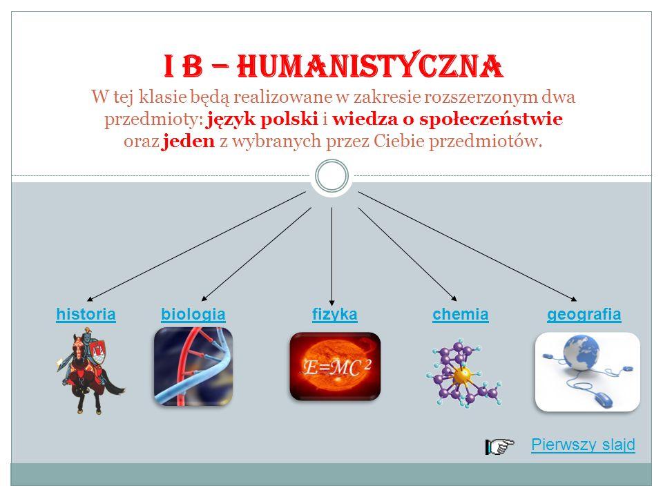Pierwszy slajd I B – HUMANISTYCZNA W tej klasie będą realizowane w zakresie rozszerzonym dwa przedmioty: język polski i wiedza o społeczeństwie oraz jeden z wybranych przez Ciebie przedmiotów.