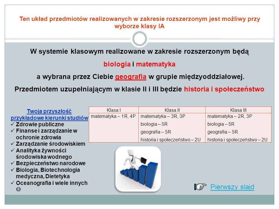 Ten układ przedmiotów realizowanych w zakresie rozszerzonym jest możliwy przy wyborze klasy IB W systemie klasowym realizowane w zakresie rozszerzonym będą język polski i wiedza o społeczeństwie a wybrana przez Ciebie historia w grupie międzyoddziałowej.