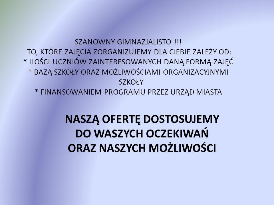 SZANOWNY GIMNAZJALISTO !!.