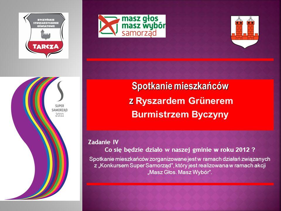 Spotkanie mieszkańców z z Ryszardem Grünerem Burmistrzem Byczyny Zadanie IV Co się będzie działo w naszej gminie w roku 2012 ? Spotkanie mieszkańców z
