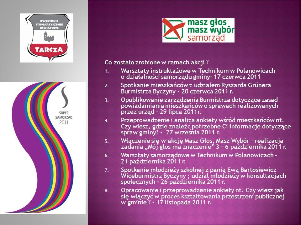 Co zostało zrobione w ramach akcji ? 1. Warsztaty instruktażowe w Technikum w Polanowicach o działalności samorządu gminy– 17 czerwca 2011 2. Spotkani