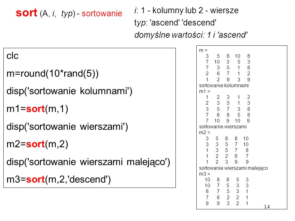 sort (A, i, typ) - sortowanie i: 1 - kolumny lub 2 - wiersze typ: 'ascend' 'descend' domyślne wartości: 1 i 'ascend' m = 3 5 8 10 8 7 10 3 5 3 7 3 5 1