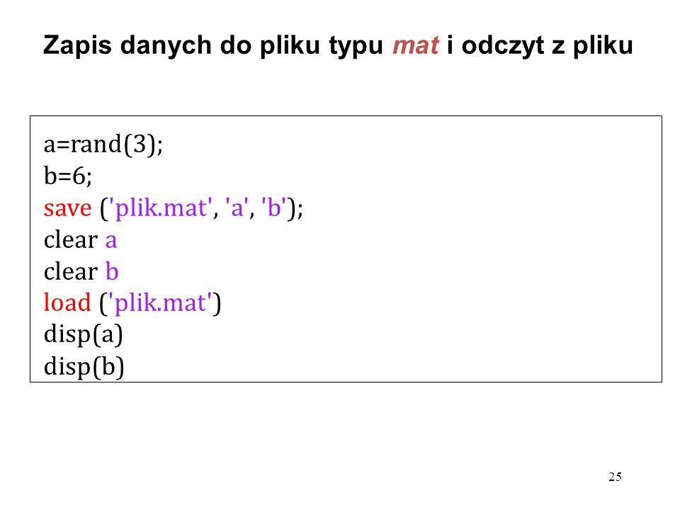 a=rand(3); b=6; save ('plik.mat', 'a', 'b'); clear a clear b load ('plik.mat') disp(a) disp(b) 25 Zapis danych do pliku typu mat i odczyt z pliku