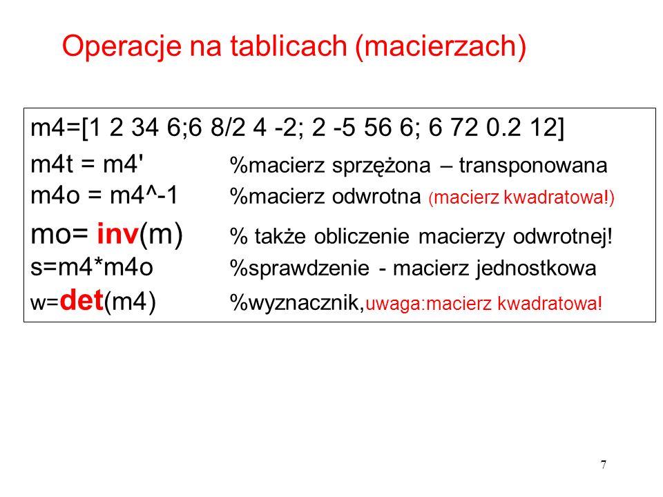 m4=[1 2 34 6;6 8/2 4 -2; 2 -5 56 6; 6 72 0.2 12] m4t = m4' %macierz sprzężona – transponowana m4o = m4^-1 %macierz odwrotna ( macierz kwadratowa!) mo=