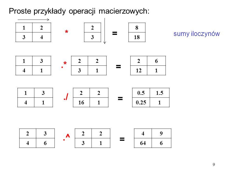 12 34 8 18 2 3 13 41 22 31 26 121 *= sumy iloczynów.* = 13 41 22 161 0.51.5 0.251./ = 23 46 22 31 49 646.^ = Proste przykłady operacji macierzowych: 9