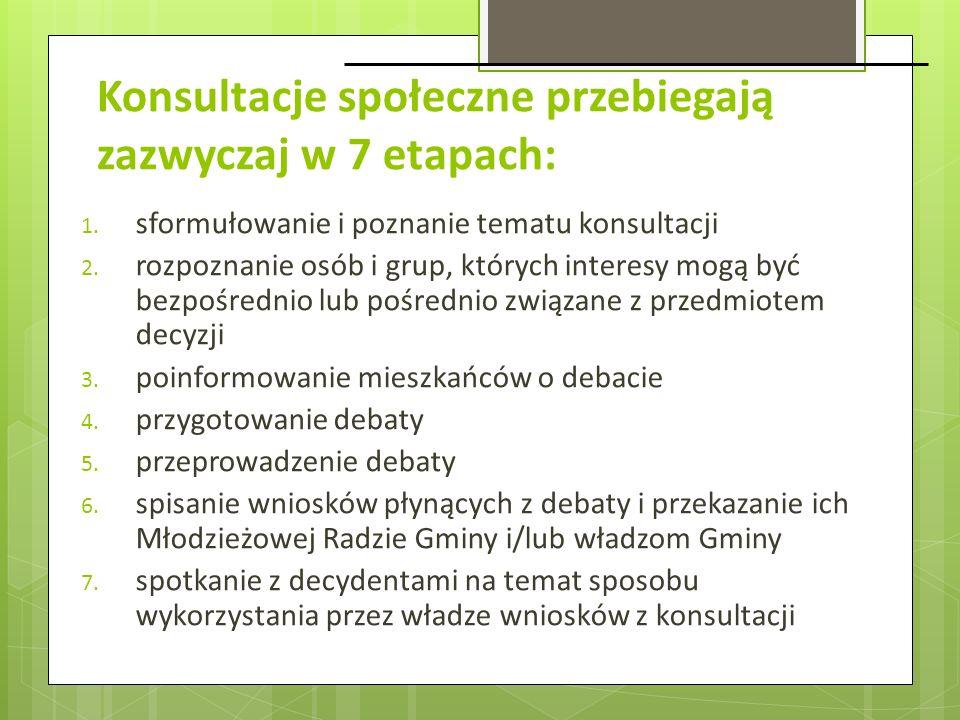 Konsultacje społeczne przebiegają zazwyczaj w 7 etapach: 1. sformułowanie i poznanie tematu konsultacji 2. rozpoznanie osób i grup, których interesy m