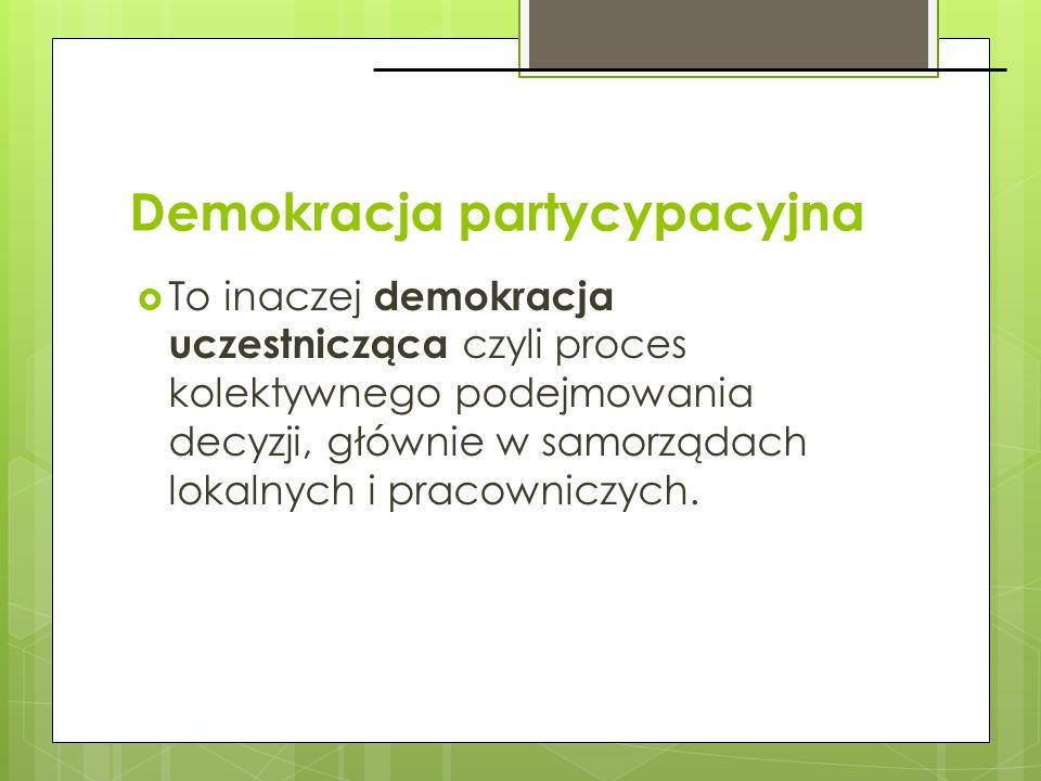 Demokracja partycypacyjna To inaczej demokracja uczestnicząca czyli proces kolektywnego podejmowania decyzji, głównie w samorządach lokalnych i pracow