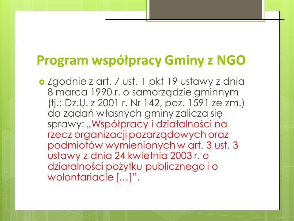 Program współpracy Gminy z NGO Zgodnie z art. 7 ust. 1 pkt 19 ustawy z dnia 8 marca 1990 r. o samorządzie gminnym (tj.: Dz.U. z 2001 r. Nr 142, poz. 1