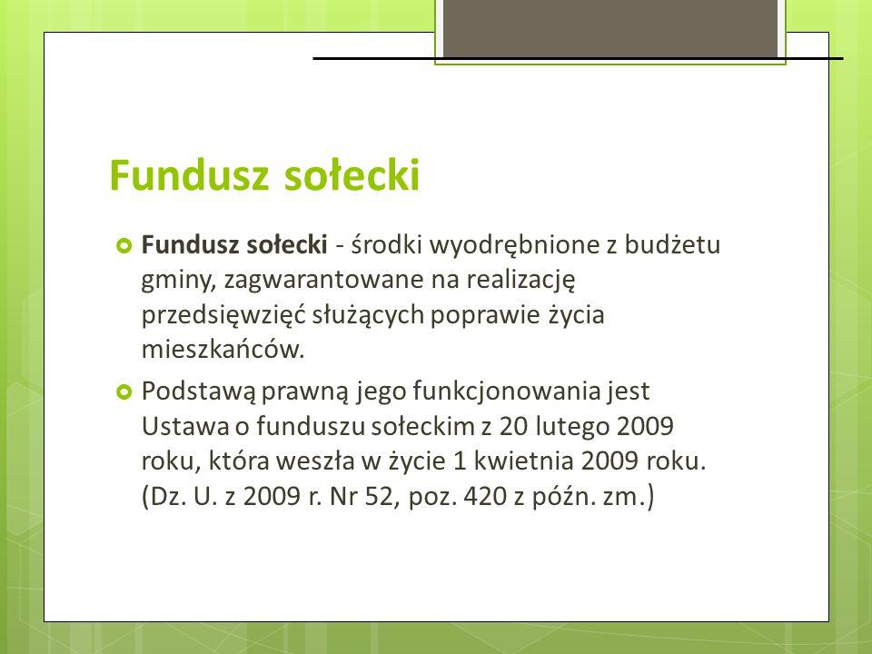 Fundusz sołecki Fundusz sołecki - środki wyodrębnione z budżetu gminy, zagwarantowane na realizację przedsięwzięć służących poprawie życia mieszkańców