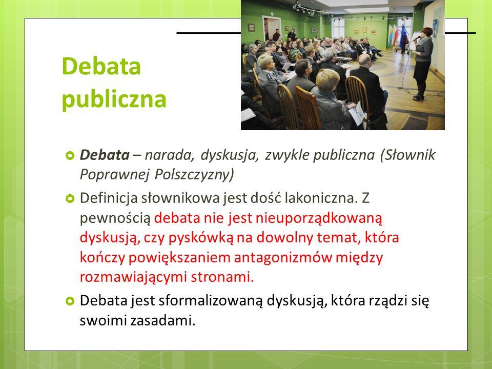 Debata publiczna Debata – narada, dyskusja, zwykle publiczna (Słownik Poprawnej Polszczyzny) Definicja słownikowa jest dość lakoniczna. Z pewnością de