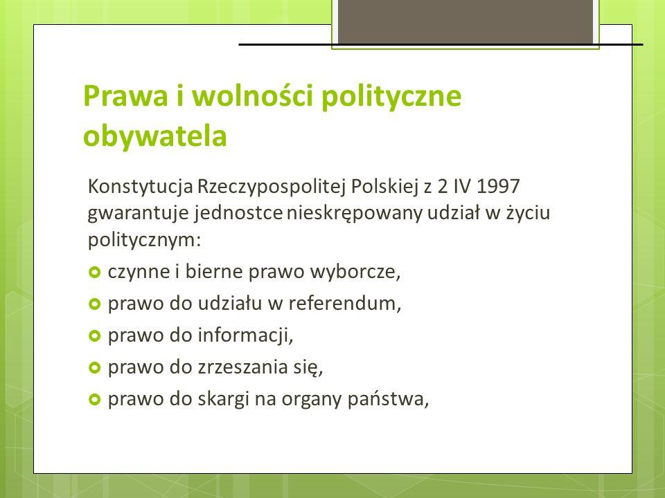 Prawa i wolności polityczne obywatela Konstytucja Rzeczypospolitej Polskiej z 2 IV 1997 gwarantuje jednostce nieskrępowany udział w życiu politycznym: