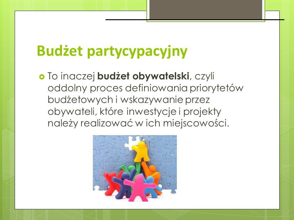 Budżet partycypacyjny To inaczej budżet obywatelski, czyli oddolny proces definiowania priorytetów budżetowych i wskazywanie przez obywateli, które in