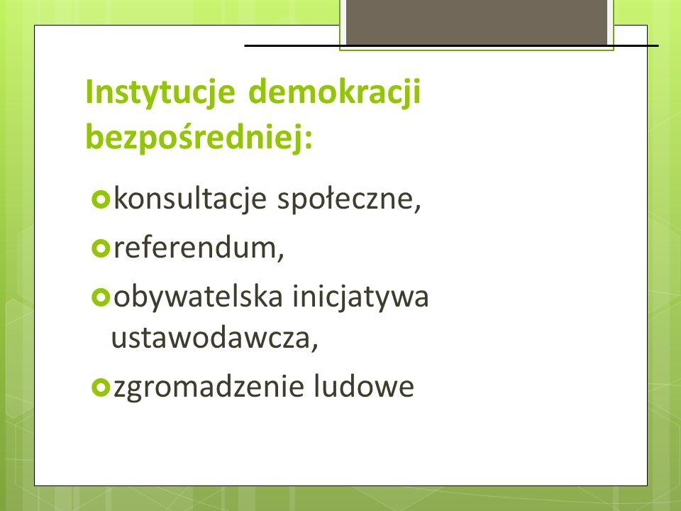 Instytucje demokracji bezpośredniej: konsultacje społeczne, referendum, obywatelska inicjatywa ustawodawcza, zgromadzenie ludowe