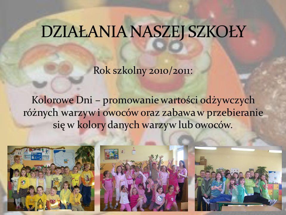 Rok szkolny 2010/2011: Kolorowe Dni – promowanie wartości odżywczych różnych warzyw i owoców oraz zabawa w przebieranie się w kolory danych warzyw lub