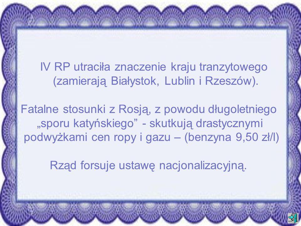 IV RP utraciła znaczenie kraju tranzytowego (zamierają Białystok, Lublin i Rzeszów).