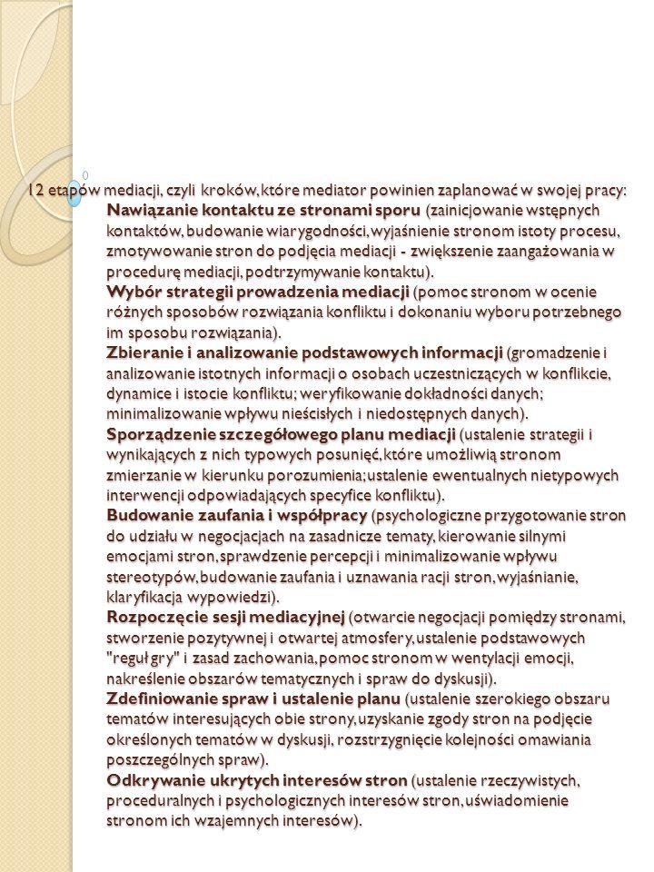 12 etapów mediacji, czyli kroków, które mediator powinien zaplanować w swojej pracy: Nawiązanie kontaktu ze stronami sporu (zainicjowanie wstępnych ko