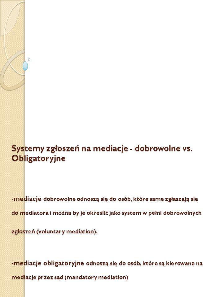 Systemy zgłoszeń na mediacje - dobrowolne vs. Obligatoryjne -mediacje dobrowolne odnoszą się do osób, które same zgłaszają się do mediatora i można by