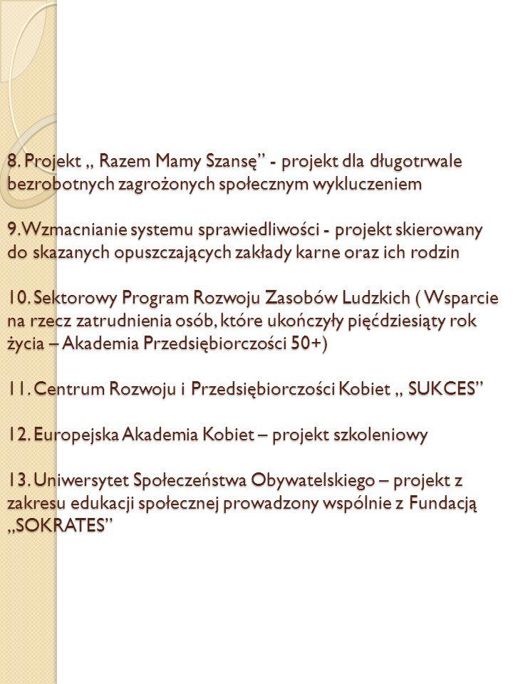 8. Projekt Razem Mamy Szansę - projekt dla długotrwale bezrobotnych zagrożonych społecznym wykluczeniem 9. Wzmacnianie systemu sprawiedliwości - proje