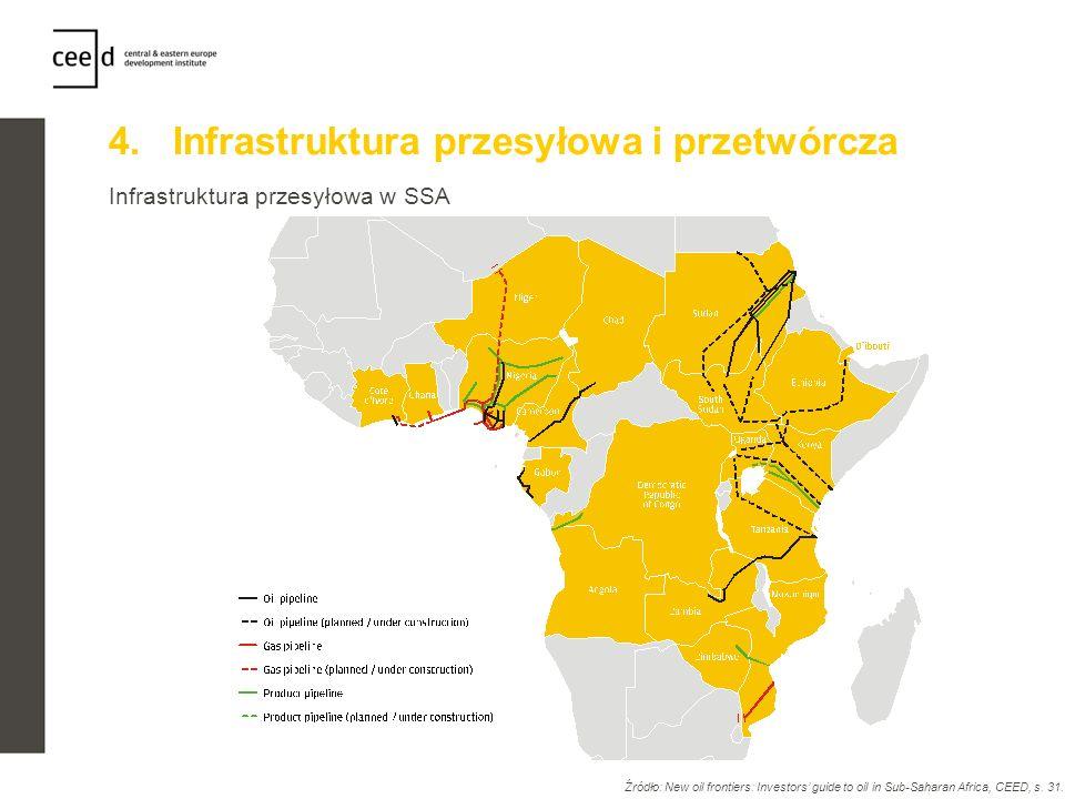 4. Infrastruktura przesyłowa i przetwórcza Infrastruktura przesyłowa w SSA Źródło: New oil frontiers: Investors guide to oil in Sub-Saharan Africa, CE