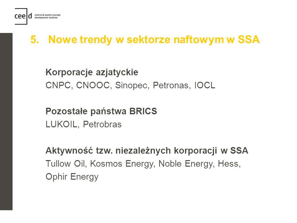 5. Nowe trendy w sektorze naftowym w SSA Korporacje azjatyckie CNPC, CNOOC, Sinopec, Petronas, IOCL Pozostałe państwa BRICS LUKOIL, Petrobras Aktywnoś