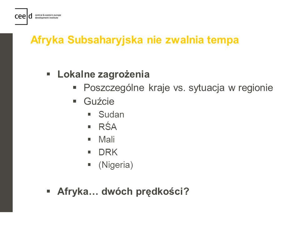 Afryka Subsaharyjska nie zwalnia tempa Lokalne zagrożenia Poszczególne kraje vs. sytuacja w regionie Guźcie Sudan RŚA Mali DRK (Nigeria) Afryka… dwóch