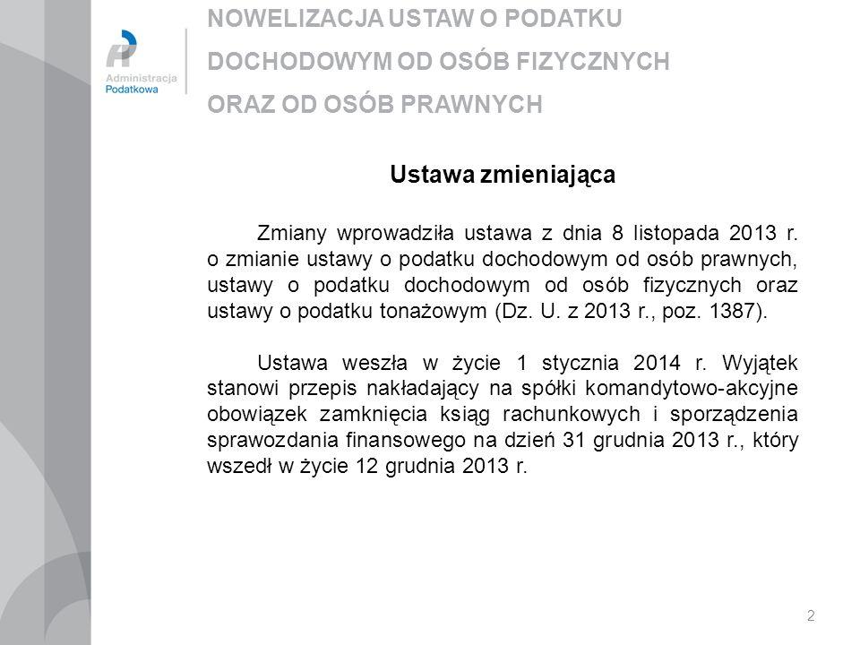 NOWELIZACJA USTAW O PODATKU DOCHODOWYM OD OSÓB FIZYCZNYCH ORAZ OD OSÓB PRAWNYCH 2 Ustawa zmieniająca Zmiany wprowadziła ustawa z dnia 8 listopada 2013