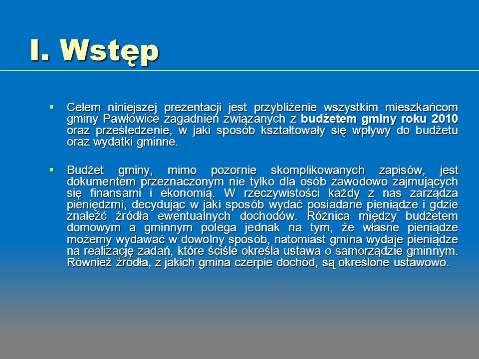 I. Wstęp Celem niniejszej prezentacji jest przybliżenie wszystkim mieszkańcom gminy Pawłowice zagadnień związanych z budżetem gminy roku 2010 oraz prz