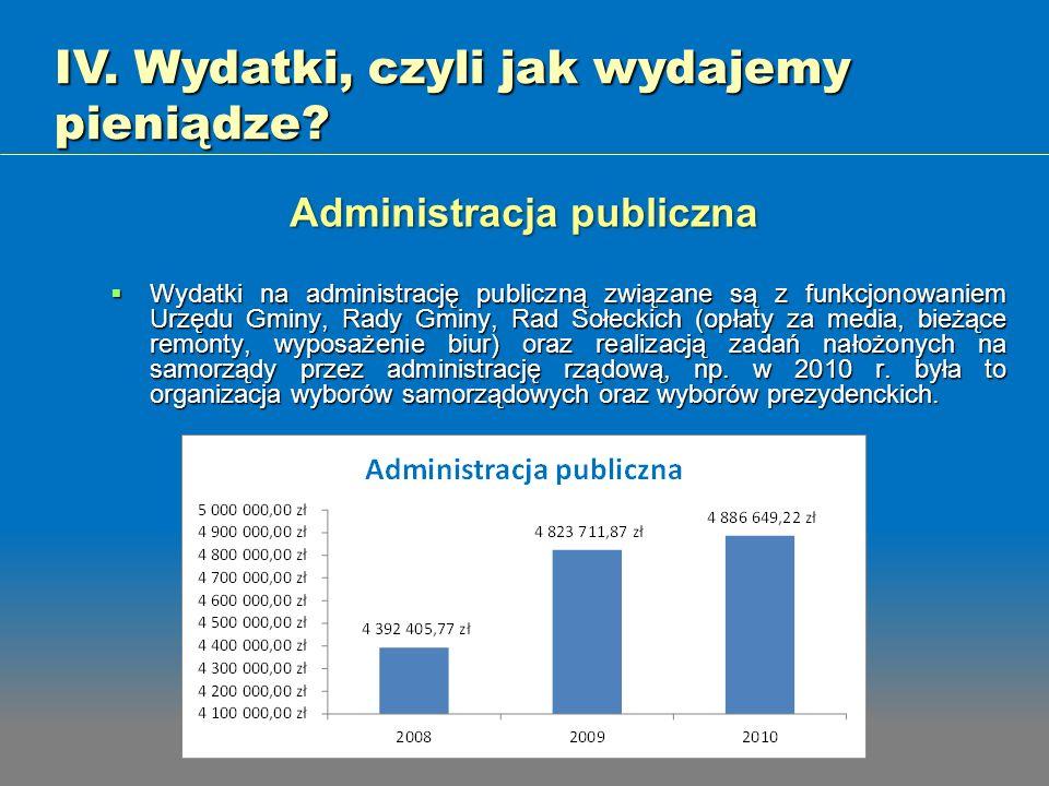 Wydatki na administrację publiczną związane są z funkcjonowaniem Urzędu Gminy, Rady Gminy, Rad Sołeckich (opłaty za media, bieżące remonty, wyposażeni
