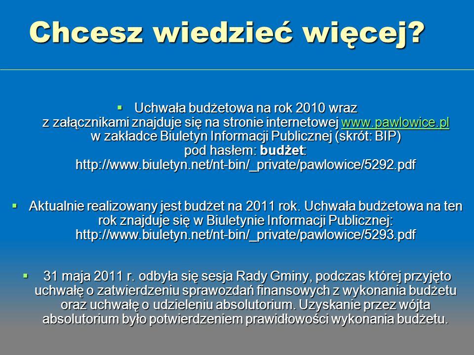 Chcesz wiedzieć więcej? Uchwała budżetowa na rok 2010 wraz z załącznikami znajduje się na stronie internetowej www.pawlowice.pl w zakładce Biuletyn In