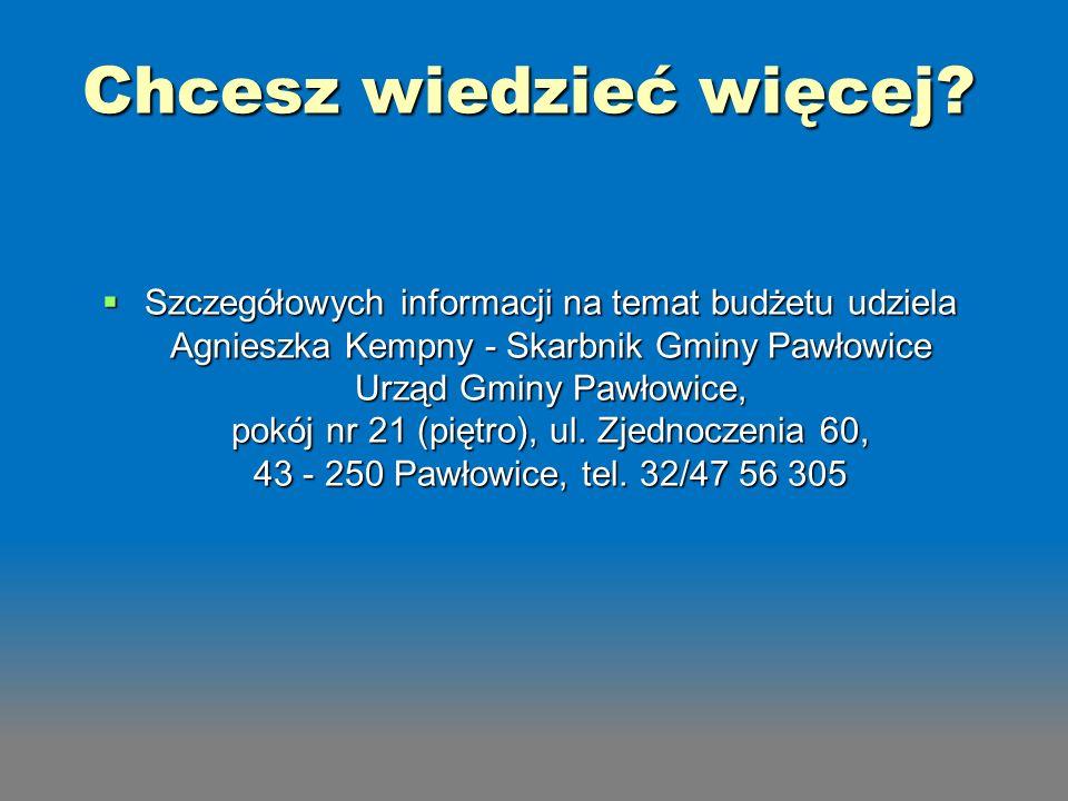 Szczegółowych informacji na temat budżetu udziela Agnieszka Kempny - Skarbnik Gminy Pawłowice Urząd Gminy Pawłowice, pokój nr 21 (piętro), ul. Zjednoc