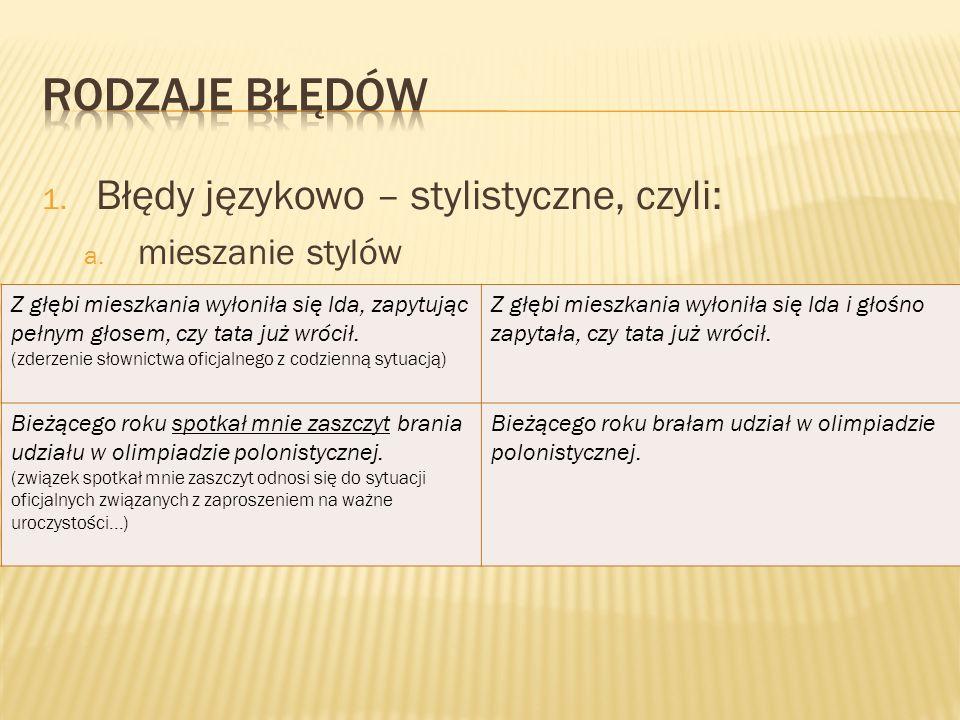 1.Błędy językowo – stylistyczne, czyli: a.