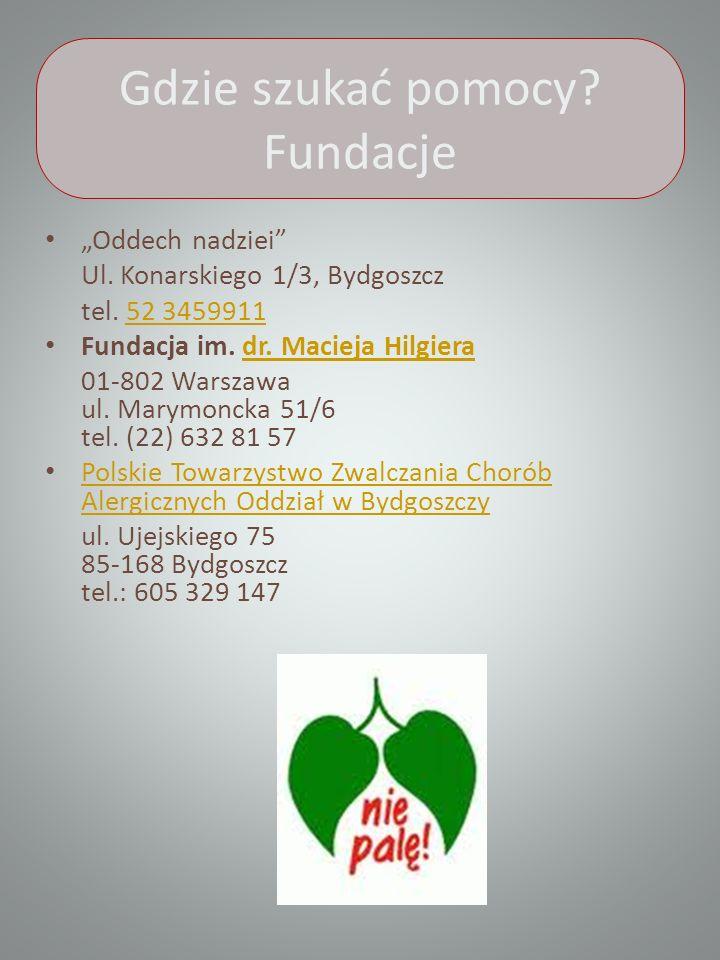 Gdzie szukać pomocy.Fundacje Oddech nadziei Ul. Konarskiego 1/3, Bydgoszcz tel.