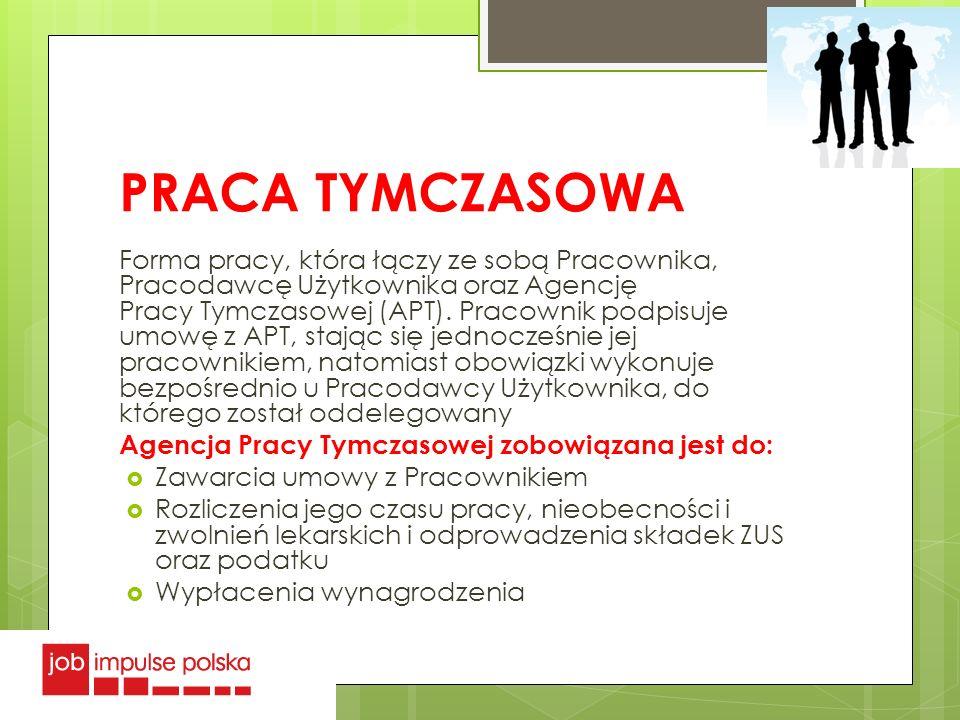PRACA TYMCZASOWA Forma pracy, która łączy ze sobą Pracownika, Pracodawcę Użytkownika oraz Agencję Pracy Tymczasowej (APT). Pracownik podpisuje umowę z
