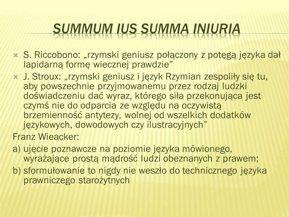 S. Riccobono: rzymski geniusz połączony z potęgą języka dał lapidarną formę wiecznej prawdzie J.