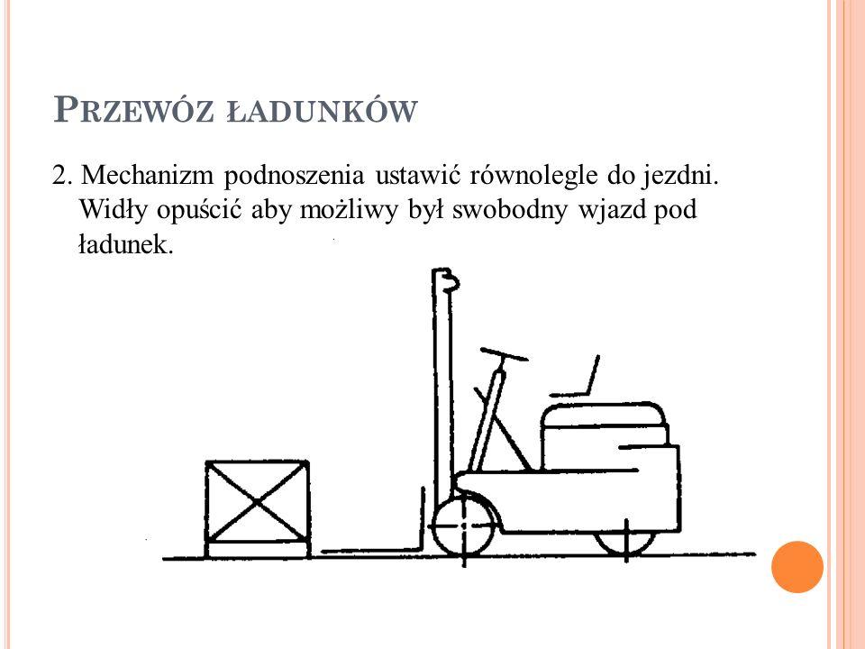 P RZEWÓZ ŁADUNKÓW 2.Mechanizm podnoszenia ustawić równolegle do jezdni.