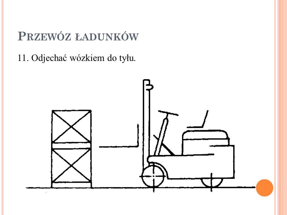P RZEWÓZ ŁADUNKÓW 11. Odjechać wózkiem do tyłu.