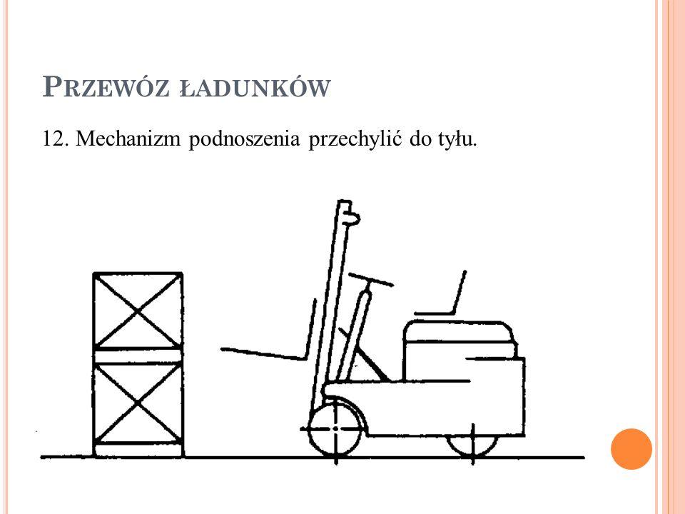 P RZEWÓZ ŁADUNKÓW 12. Mechanizm podnoszenia przechylić do tyłu.