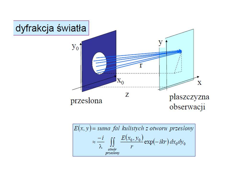 Kryterium Rayleigha mówi, że minimalnym warunkiem by rozdzielić dwa obiekty jest posiadanie piku dyfrakcyjnego jednego obiektu w minimum dyfrakcyjnym drugiego np, D.